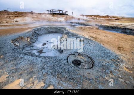 Namafjall geothermal area. Þjóðvegur. Iceland - Stock Photo