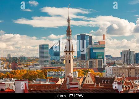 Aerial cityscape of Tallinn, Estonia - Stock Photo