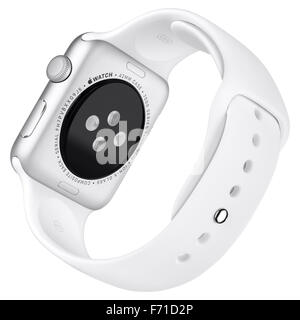Varna, Bulgaria - October 16, 2015: Apple Watch Sport 42mm Silver Aluminum Case with White Sport Band. Back view - Stock Photo