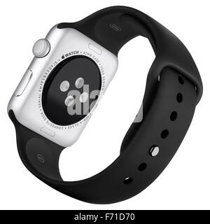 Varna, Bulgaria - October 16, 2015: Apple Watch Sport 42mm Silver Aluminum Case with Black Sport Band. Back view - Stock Photo
