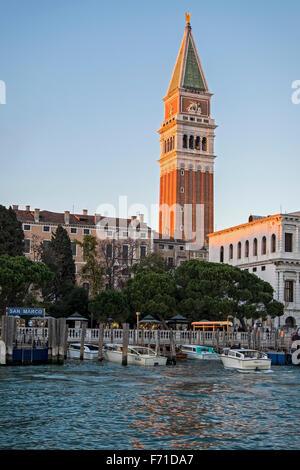 Italy, Venice. Campanile di San Marco, Saint Mark's Bell Tower view from the Bacino di San Marco - Stock Photo