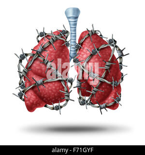 Lung pain medical concept as a pair of human lungs organ wrapped with dangerous barbed or barb wire as a health - Stock Photo