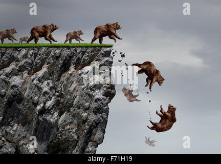 Falling bear market financial decline business and plummeting finance concept for losing investment and value taking - Stock Photo
