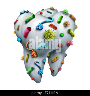 Tooth germs as a dental hygiene concept with bacteria and virus cells on human molar enamel as a dentistry and dentist - Stock Photo