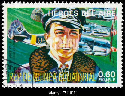 EQUATORIAL GUINEA - CIRCA 1977: a stamp printed in Equatorial Guinea shows Walter Novotny, german pilot - Stock Photo