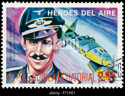 EQUATORIAL GUINEA - CIRCA 1977: a stamp printed in Equatorial Guinea shows Adolf Galland, german pilot - Stock Photo