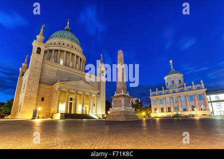 St. Nicholas Church and old city hall on Alter Markt square in Potsdam, Germany - Stock Photo