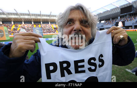 Udine, Italy. 22nd November, 2015. SampdoriaÕs president Massimo Ferrero before the Italian Serie A TIM football - Stock Photo
