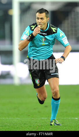 Udine, Italy. 22nd November, 2015. the referee Marco Di Bello during the Italian Serie A TIM football match between - Stock Photo