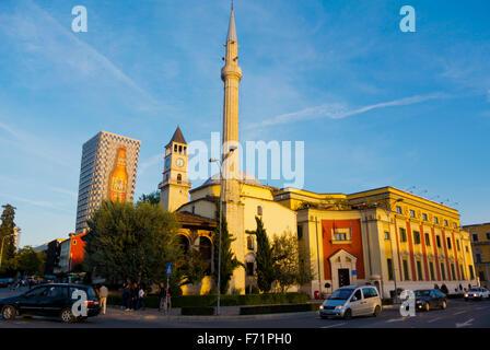 Xhamia e Et'hem Beut mosque, town hall, and clock tower, Sheshi Skenderbej,Skanderbeg square, Tirana, Albania - Stock Photo