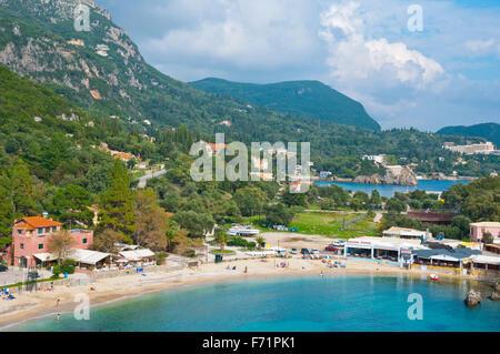 Main beach, Palaiokastritsa, Paleokastritsa, western Corfu, Kerkyra, Ionian islands, Greece - Stock Photo