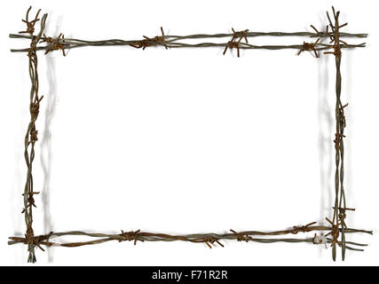 frame made of barbed wire on wooden desk Stock Photo: 97449701 - Alamy