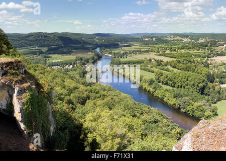 River Dordogne winding its way through the Perigord Region in southwest France viewed from the village of Domme - Stock Photo