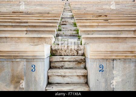 Steps and seats in the Panathenaic Stadium, original modern day Olympic Stadium, Athens, Greece - Stock Photo