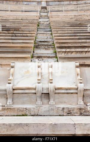 Royal boxes used in 1896, Panathenaic Stadium, original modern day Olympic Stadium, Athens, Greece - Stock Photo