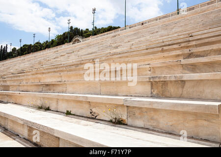 Seats in the Panathenaic Stadium, original modern day Olympic Stadium, Athens, Greece - Stock Photo