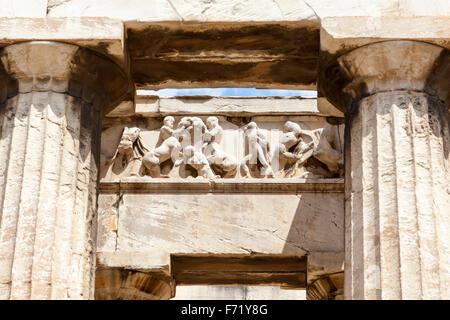 Frieze and columns, Temple of Hephaestus, Ancient Agora of Athens, Athens, Greece - Stock Photo