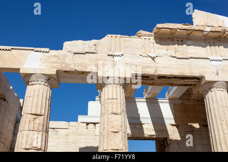 The Propylaea, the entrance to the Acropolis, Athens, Greece - Stock Photo