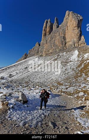 Three Peaks, Sextner Dolomiten, South Tyrol province, Trentino-Alto Adige, Italy, Europe - Stock Photo