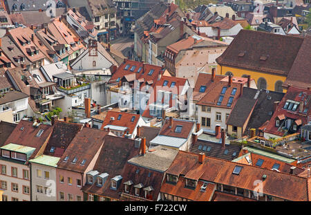 Close-up roofs of buildings in Freiburg im Breisgau city, Germany - Stock Photo