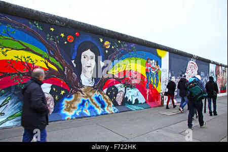 BERLIN - NOVEMBER 10, 2013: People walking near East Side Gallery on November 10, 2013 in Berlin, Germany. It's a 1.3 km long part of original Berlin Wall which collapsed in 1989, and now is the largest world amateur art gallery of graffiti