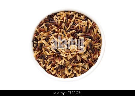Wild rice mix in a cup isolated on a white background - Stock Photo