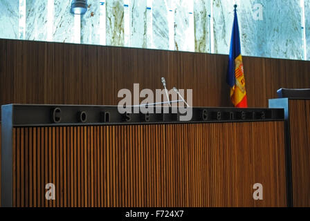 The interior of the new parliament building of Andorra. - Stock Photo