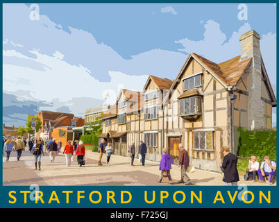 A poster style illustration from a photograph of Shakespeare's Birthplace, Stratford upon Avon, Warwickshire, England, - Stock Photo