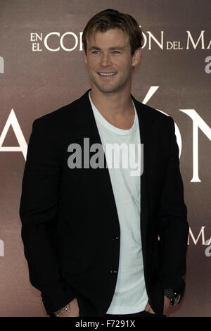 Mexico City, Mexico. 23rd Nov, 2015. Australian actor Chris Hemsworth poses during a promotion event of the movie - Stock Photo