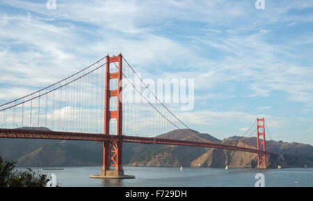 The Golden Gate Bridge with Wispy Clouds - Stock Photo