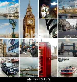 London, travel photo collage of major landmarks and its streets