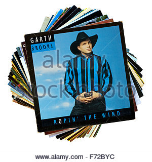 Garth Brooks 1991 3rd album Ropin' the Wind, stack of LP records, England - Stock Photo