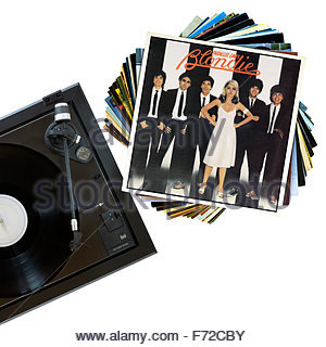 Blondie 1978 album Parallel Lines, record player and album, England - Stock Photo