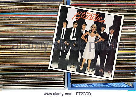 Blondie 1978 album Parallel Lines, box of secondhand LP records, England - Stock Photo