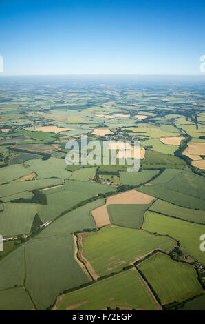 Aerial view over the English countryside in summer - Stock Photo