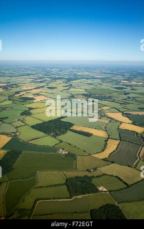 Aerial view over the English countryside in the summer UK - Stock Photo
