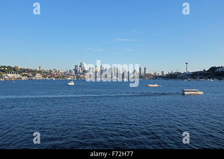 Downtown view from Gas Works Park in Seattle, Washington state, USA - Stock Photo