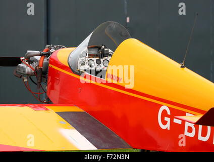 Jodel D.9 Bebe at White Waltham Airfield EGLM) parked outside a hangar - Stock Photo