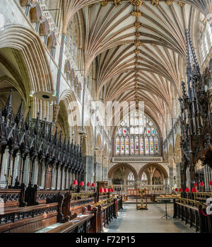 Interior of Exeter Cathedral, Devon, England, UK - Stock Photo
