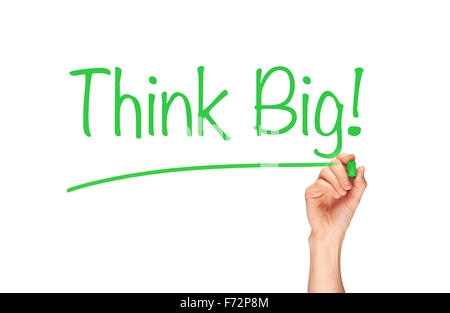 Think Big, written in marker on a clear screen. - Stock Photo