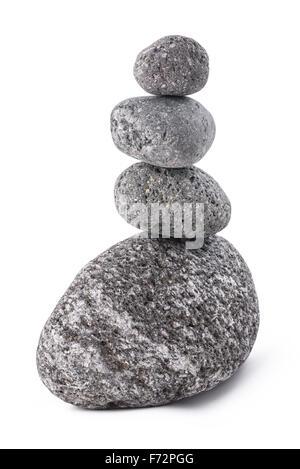lava stones pile isolated on white background - Stock Photo