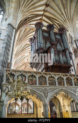 Interior and Pipe Organ of Exeter Cathedral, Devon, England, UK - Stock Photo