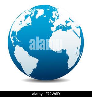 Earth Globe America and Europe - Stock Photo