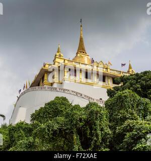 Wat Saket - The Golden Mountain Temple (Phu KHao Thong) in Bangkok, Thailand - Stock Photo