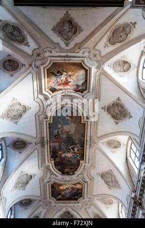 Chiesa di Santa Maria del Rosario or Gesuati church in Venice, Italy. Interior ceiling painting - Stock Photo