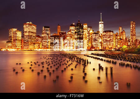 New York City, Lower Manhattan, view from Brooklyn Bridge Park - Stock Photo
