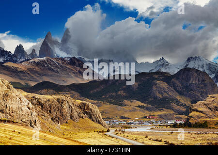 El Chalten is a small town near the mount Fitz Roy; the trekking capital of Argentina - Stock Photo