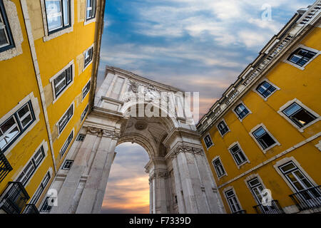 Triumphal Arch in the Rua Augusta, Lisbon, Portugal - Stock Photo