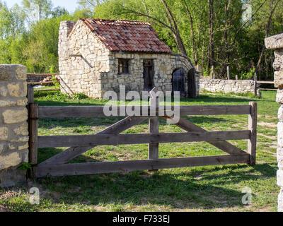 Small cottage in Pirogovo museum near Kiev, Ukraine - Stock Photo