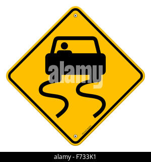 Yellow Wet Road Sign - Stock Photo